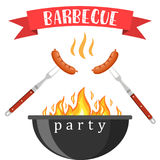 Bbq or barbecue party invitation. Card. vector illustration in flat style Stock Photos