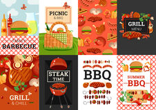 BBQ Barbecue Picnic Banners Set. Barbecue grill picnic summer outdoor party weekend 8 banners composition poster with bbq accessories vector illustration vector illustration