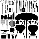 BBQ Barbecue Set Silhouette Vector. A large set of barbecue tools and food in silhouette Stock Photography