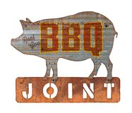 BBQ barbecue uitstekend teken royalty-vrije stock foto's