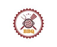 BBQ barbecue vector icon emblem logo design. Template Royalty Free Stock Photos