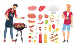 BBQ Barbecue Veggies Icons Set Vector Illustration. BBQ barbecue veggies and meat icons vector. Man roasting beef, pork and brochettes. Sauces ketchup and vector illustration