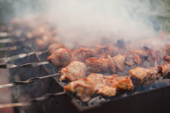 BBQ barbecuing skewers Stock Photography