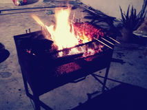 Bbq. Barbeque fire night Royalty Free Stock Photography