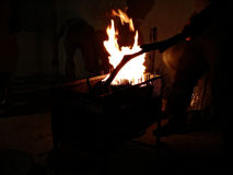 Bbq. Barbeque fire night fun Stock Photos