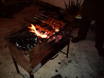 Bbq. Barbeque fire night fun Royalty Free Stock Photos