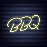 BBQ. Barbeque neon sign. Neon glowing signboard banner design.  royalty free illustration