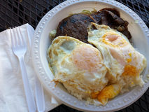 BBQ Beef breakfast plate with eggs Royalty Free Stock Photo