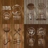 BBQ Beef menu restaurant symbol on Wooden striped Stock Photography