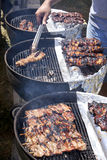 BBQ - Beef, Pork and Chicken on a stick on a hot grill Royalty Free Stock Images
