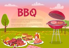 BBQ Beef Roasting Meat Poster Vector Illustration. BBQ beef roasting meat poster. Grille beefsteaks cooking in park. Picnic with served plates, hamburger and royalty free illustration