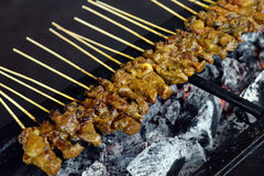 BBQ Beef Satay on Grill. BBQ Beef satay Cooking on Grill Stock Photo