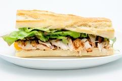 Bbq-belegtes Brot mit Hühnerfleisch Lizenzfreies Stockfoto