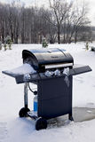 BBQ blues. A frozen BBQ grill stands poised and ready for better days royalty free stock photo