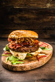 BBQ Burger with Bacon and Onions Royalty Free Stock Image