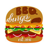 Bbq burger. Fast food illustration and hand draw lettering in vector. Colorful, volume, and modern picture of burger concept with different taste Royalty Free Stock Photography