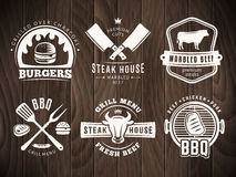 BBQ, burger, grill badges. Royalty Free Stock Photos