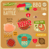 BBQ card. Barbecue Poster in Flat Design Style. BBQ Time. Vector Illustration Royalty Free Stock Images