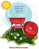Bbq card with brazier. Bbq background with red brazier and funny sun Stock Photos