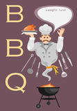 Bbq card with genie. And kitchen tools Stock Photo