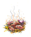 Bbq, charcoal barbeque illustration Stock Photo