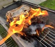 BBQ charcoal flaming Stock Photos