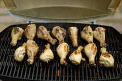 BBQ Chicken 1. 14 chicken drumsticks on a barbeque, being grilled up Royalty Free Stock Image