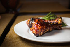 BBQ Chicken. Legs and green beans Stock Image