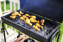 BBQ chicken. Chicken curry cooking on BBQ grill Royalty Free Stock Photos