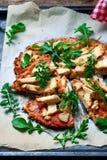 BBQ Chicken Cauliflower Crust Pizza.. BBQ Chicken Cauliflower Crust Pizza. Top view. selective focus Stock Photography