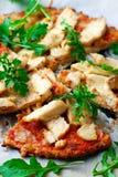 BBQ Chicken Cauliflower Crust Pizza.. BBQ Chicken Cauliflower Crust Pizza. Top view. selective focus Stock Photo