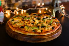 BBQ Chicken Cheese Pizza royalty free stock image