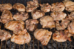 BBQ Chicken Cooking on Grill Royalty Free Stock Photo