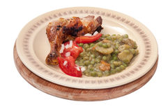 BBQ CHICKEN DRUMSTICKS YOUNG PEAS POTATO SALAD Stock Images