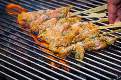 BBQ  chicken on flame Royalty Free Stock Images