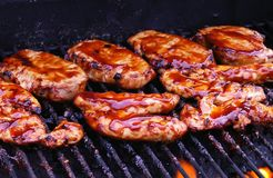 BBQ Chicken on Grill Stock Photo