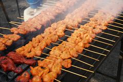 BBQ Chicken on Grill. BBQ Barbecue Chicken on Grill royalty free stock image