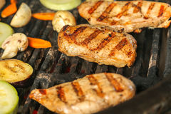 BBQ Chicken on Grill Royalty Free Stock Photography