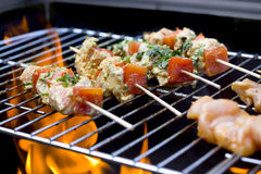 BBQ chicken kebabs royalty free stock image