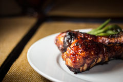 BBQ Chicken. Legs and green beans royalty free stock images