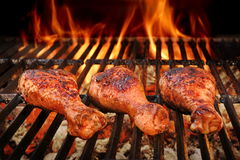 BBQ Chicken Legs Roasted On Hot Charcoal Grill Royalty Free Stock Photos