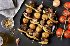 Bbq from chicken liver, potato. And bell pepper. Tasty barbecue skewers. Top view Royalty Free Stock Image