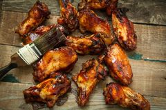 Bbq chicken wings. American style hot chicken wings with bbq sauce Stock Photography