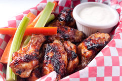 Bbq chicken wings with dip Stock Photography