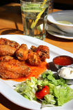 Bbq chicken wings with dips and salad Royalty Free Stock Images