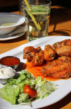 Bbq chicken wings with dips and salad Royalty Free Stock Photography