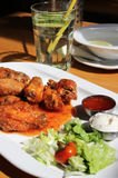 Bbq chicken wings with dips and salad Stock Image