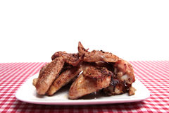 Free BBQ Chicken Wings On A Plate. Stock Photos - 13214833