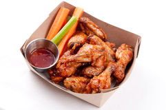 Bbq chicken wings. Oven roasted bbq chicken wings healthy baked instead of fried Royalty Free Stock Photos