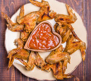 BBQ Chicken Wings with sauce Stock Image